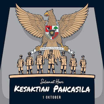 Greeting kesaktian pancasila day 1 october illustration