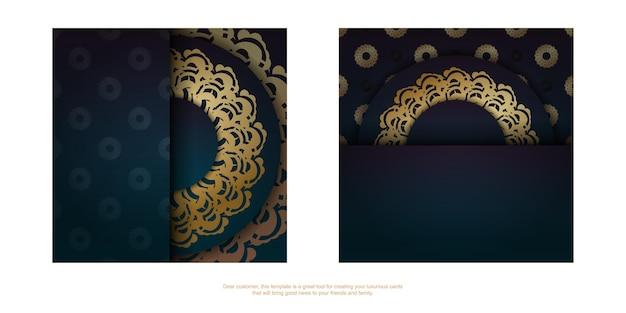 디자인을 위한 금색 만다라 패턴이 있는 녹색 그라데이션이 있는 인사말 전단지.