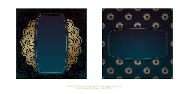 축하를 위해 만다라 골드 패턴이 있는 녹색 그라데이션이 있는 인사말 전단지.