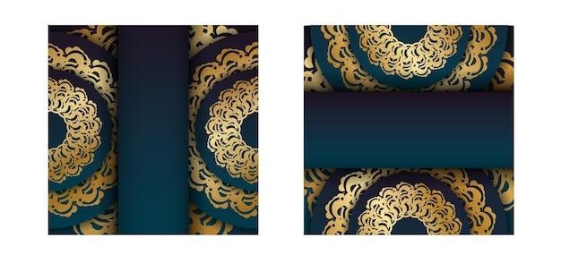 축하를 위한 금 장식이 있는 만다라가 있는 녹색 그라데이션이 있는 인사말 전단지.