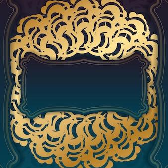 디자인을 위한 추상 금색 패턴이 있는 그라데이션 녹색 색상의 인사말 전단지.