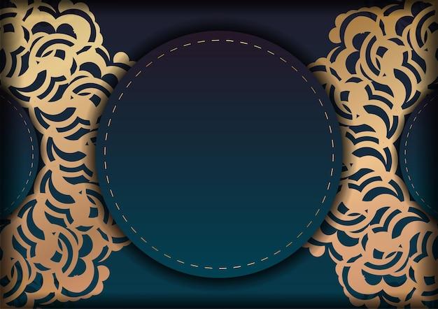 あなたのデザインのための豪華な金の装飾品とグラデーショングリーン色の挨拶リーフレット。