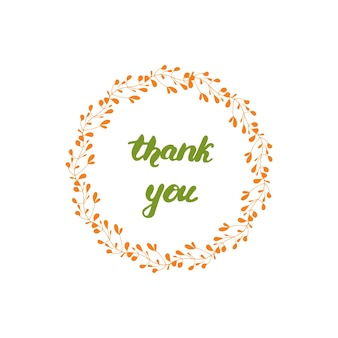 Greeting lettering thank you. vector illustration.