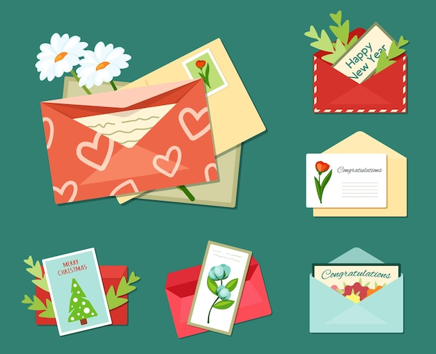 Greeting letters with floral cards set