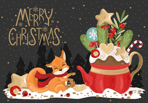 The greeting merry christmas with the festive cup, squirrel