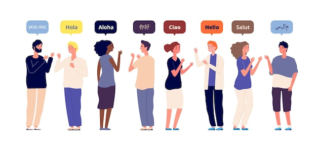 Greeting in native languages. international multiracial friends speech hello. foreign language
