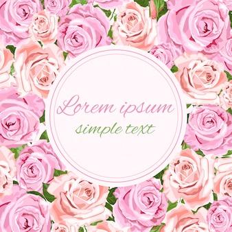 ピンクとベージュのバラで挨拶または招待状カード
