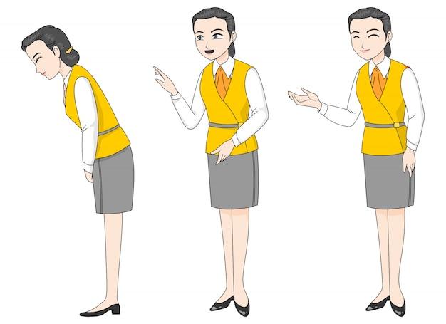 사람들을 인사하고 고객에게 응답 유니폼을 입은 여성 캐릭터.