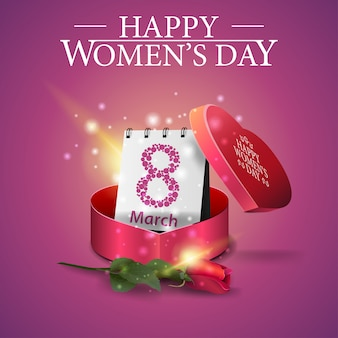 Greeting pink card for women's day with gift