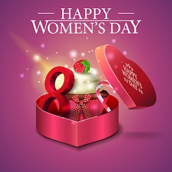 Greeting pink card for women's day