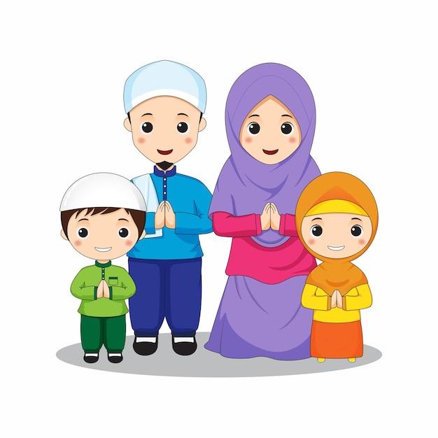 カラフルなテーマで挨拶ポーズイスラム教徒の家族