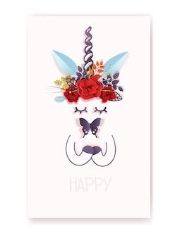 귀여운 유니콘과 꽃 왕관이 있는 인사말 엽서 템플릿