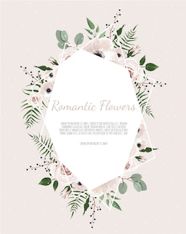 Greeting, postcard wedding invite template. elegant frame with rose and anemone