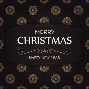 Greeting poster happy new year and merry christmas white color with winter pattern.