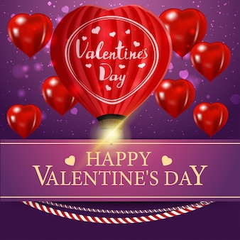 バレンタインデーのグリーティングカード紫