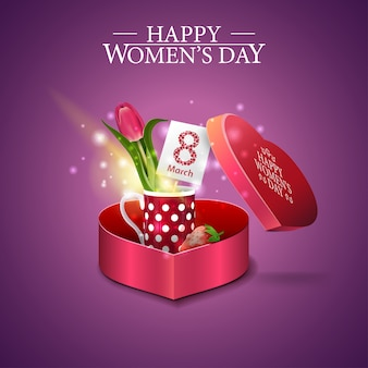 Greeting purple card for women's day with gift