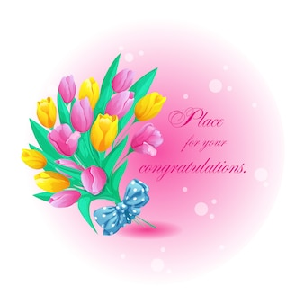 Greeting round card with a beautiful bouquet of tulips, bow
