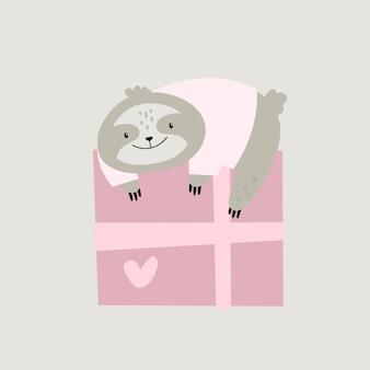Приветствие ленивца и подарочной коробки