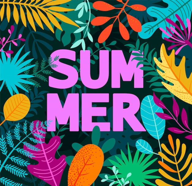 Greeting summer 2019 card on tropical leaves.