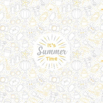Greeting summer holiday set of cute icon seamless pattern with white background