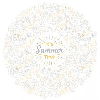 サークルと白の背景にかわいいアイコンの挨拶夏休みセット