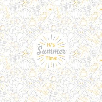 白い背景とかわいいアイコンシームレスパターンの挨拶夏休みセット