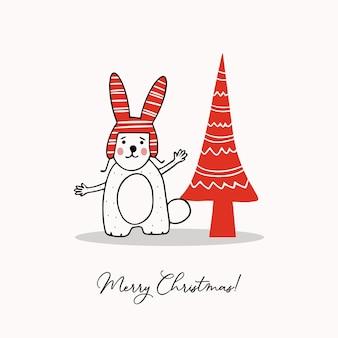 かわいいウサギと定型化されたクリスマスツリーの挨拶テンプレート