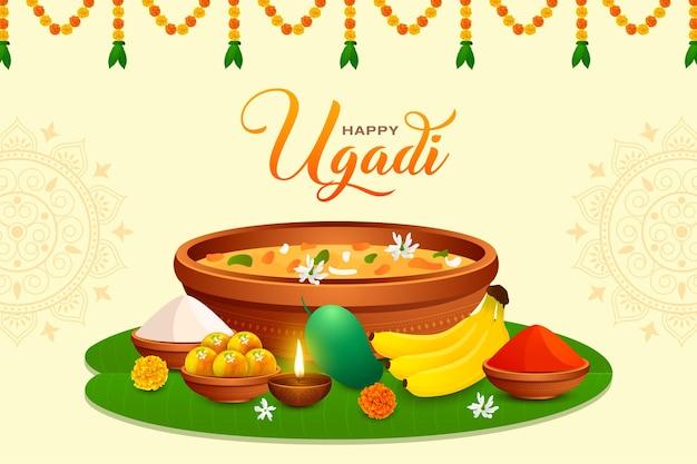 インドの新年祭グディパドワのための伝統的な幸せなウガディグディに挨拶