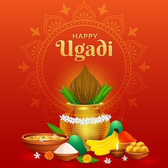 Greeting traditional happy ugadi gudhi for indian new year festival gudi padwa