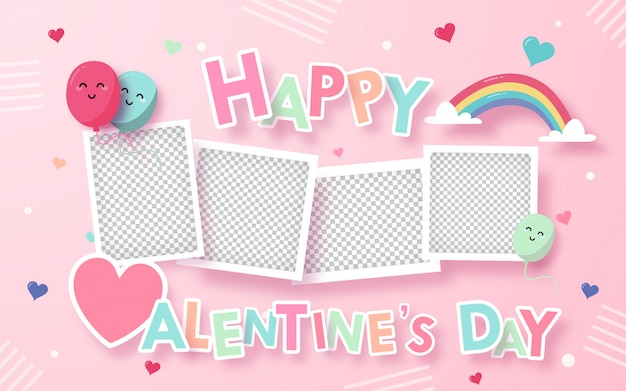 Greeting valentines card with decoration on pink , blank area in the photo