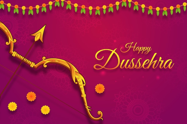 Greeting with bow for navratri festival, dussehra. vijayadashami, durga pooja