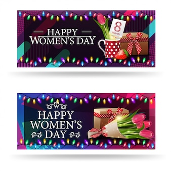 Greeting women's day banners