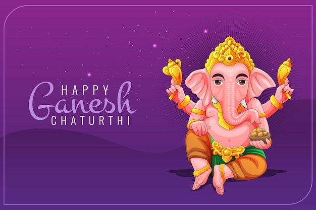 Greetings card for ganesh cathurthi with lord ganesha illustration