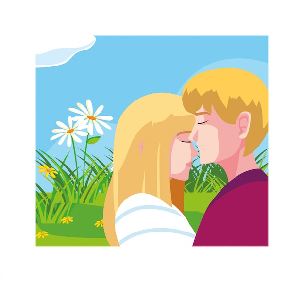Greetings card for valentines day, couple in love