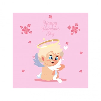 Greetings card for valentines day, sweet cupid angel