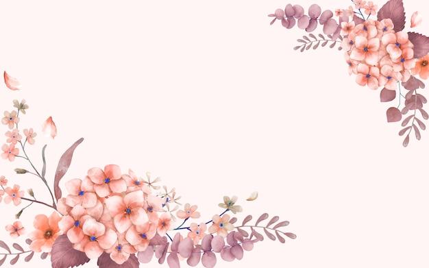 분홍색과 꽃 테마 인사말 카드