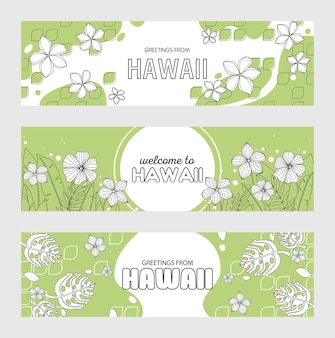 Greetings from hawaii, welcome to hawaii banner set