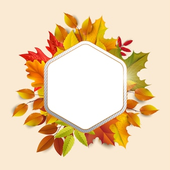 Greetings and gifts for the autumn and autumn season concept. autumn background, poster and banner template with colorful autumn leaves.