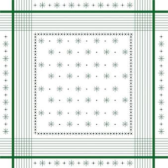 トレンディなベクトル飾り最小限のバンダナプリント、シルクネックスカーフまたはハンカチ正方形パターンデザインスタイルファッション、ファブリックおよびすべてのプリントgremmライン