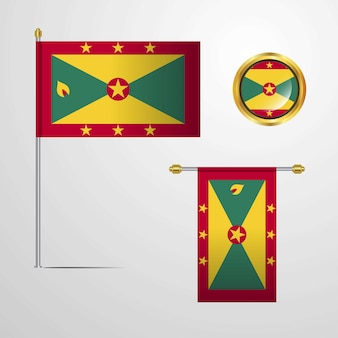 Grenada waving flag design with badge vector