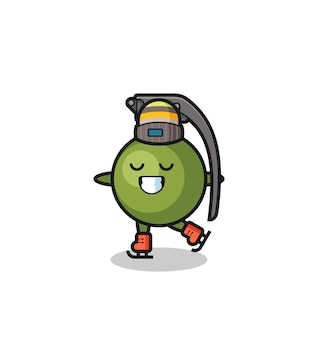 Grenade cartoon as an ice skating player doing perform , cute style design for t shirt, sticker, logo element