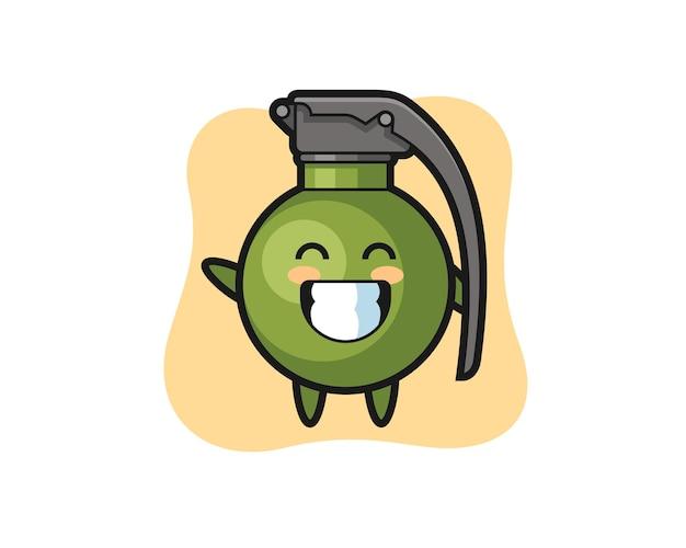 웨이브 손 제스처를 하는 수류탄 만화 캐릭터, 티셔츠, 스티커, 로고 요소를 위한 귀여운 스타일 디자인