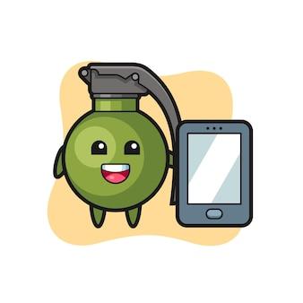 스마트폰을 들고 있는 수류탄 그림 만화, 티셔츠, 스티커, 로고 요소를 위한 귀여운 스타일 디자인