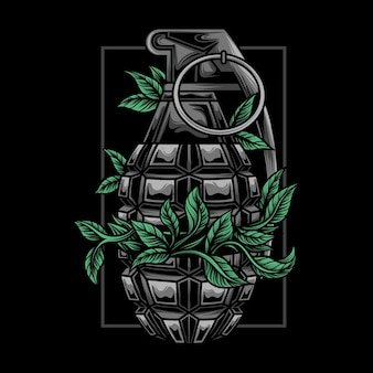 植物と手榴弾のイラスト