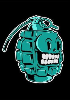 手榴弾の頭蓋骨手描きイラスト