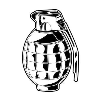 グレネードベクトル図黒と白の隔離