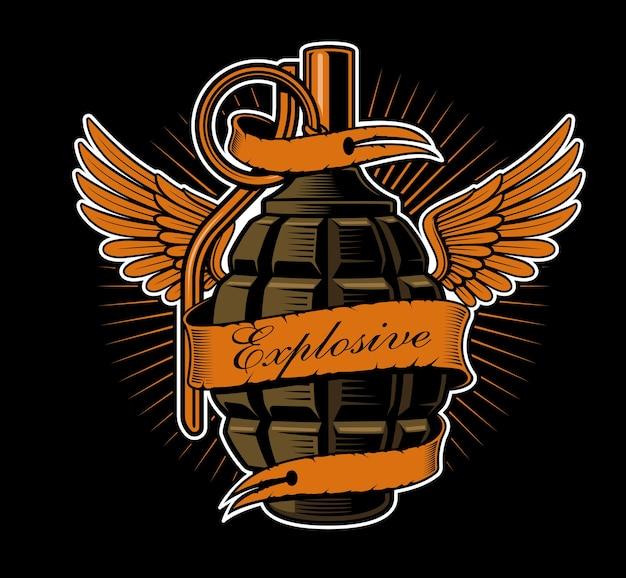 翼を持つ手榴弾。タトゥーアート、シャツのグラフィック。すべての要素、色、テキストは別々のレイヤーにあります。
