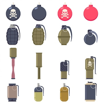 Grenades and bombs vector cartoon flat set isolated