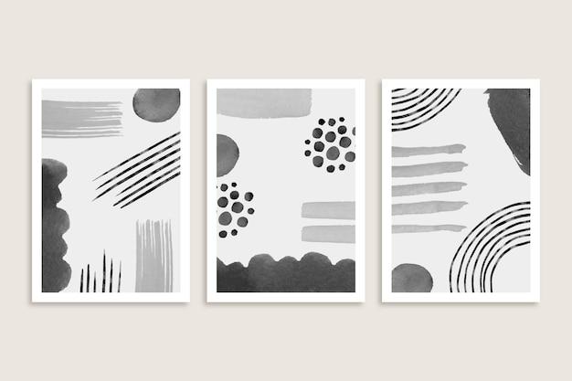 Коллекция серых абстрактных акварельных обложек