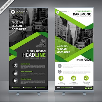 グレーと緑のダブルロールアップデザイン